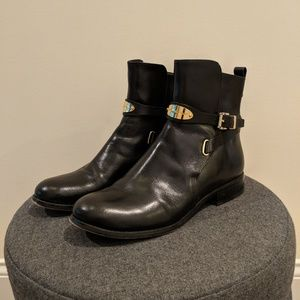MK 'Arley' Black Leather Boot with Gold Details